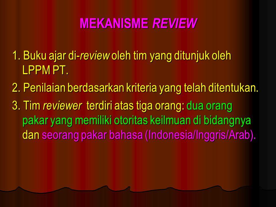 MEKANISME REVIEW 1. Buku ajar di-review oleh tim yang ditunjuk oleh LPPM PT. 2. Penilaian berdasarkan kriteria yang telah ditentukan.