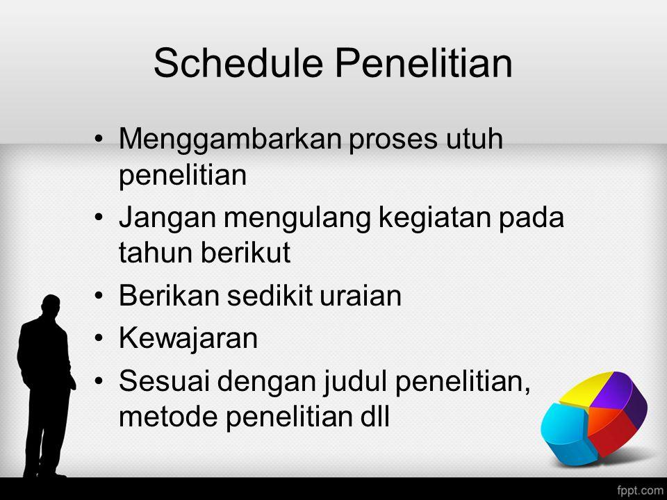 Schedule Penelitian Menggambarkan proses utuh penelitian