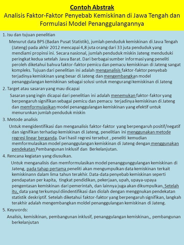 Contoh Abstrak Analisis Faktor-Faktor Penyebab Kemiskinan di Jawa Tengah dan Formulasi Model Penanggulangannya