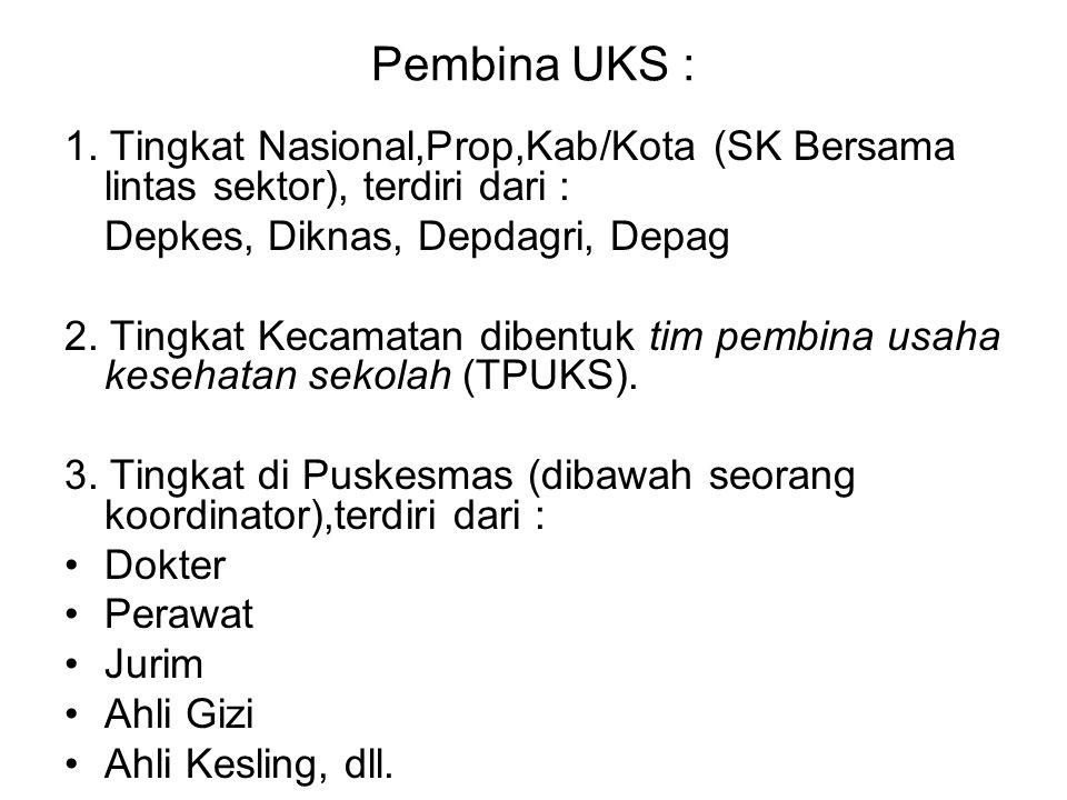 Pembina UKS : 1. Tingkat Nasional,Prop,Kab/Kota (SK Bersama lintas sektor), terdiri dari : Depkes, Diknas, Depdagri, Depag.