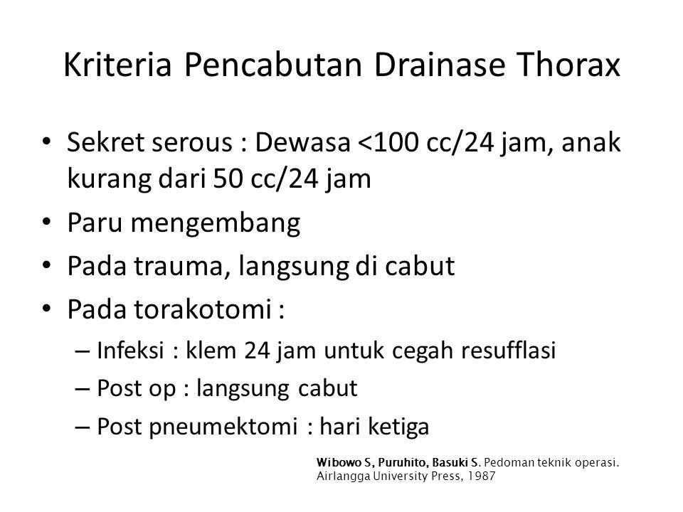 Kriteria Pencabutan Drainase Thorax