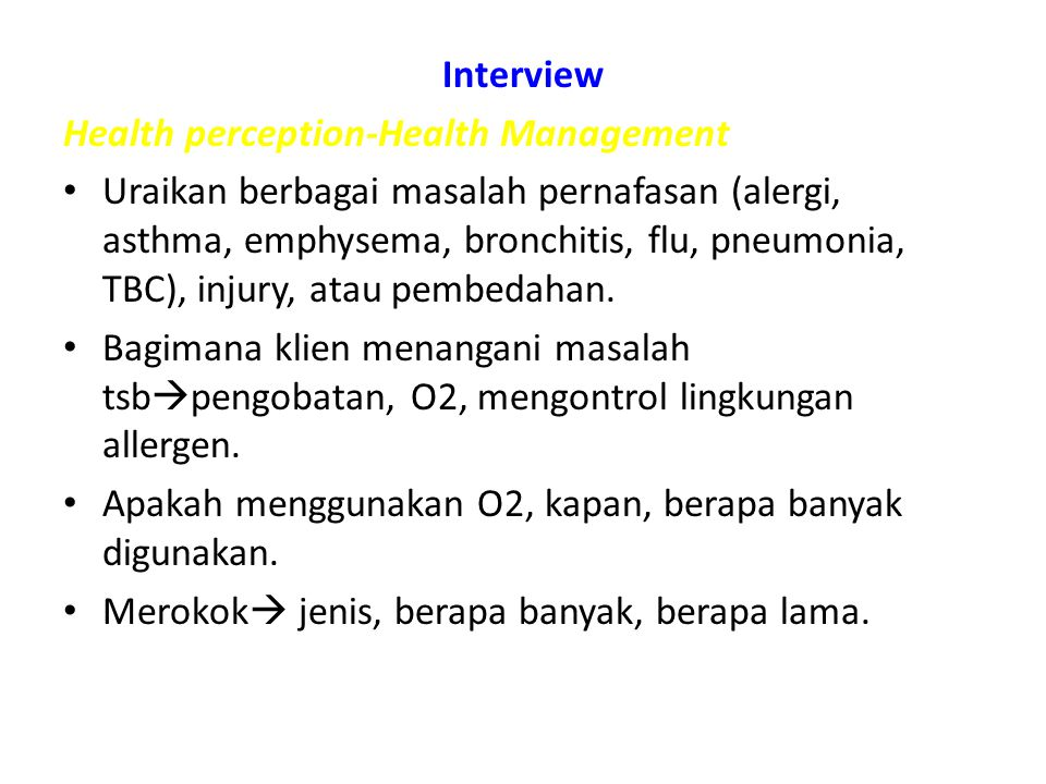 Interview Health perception-Health Management.