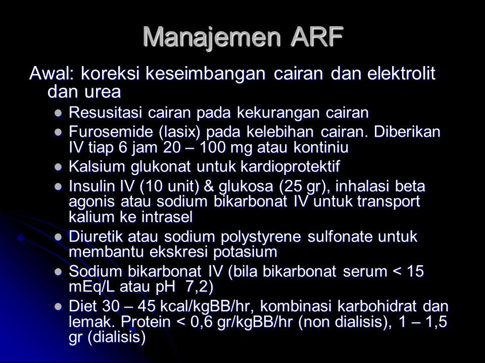 Manajemen ARF Awal: koreksi keseimbangan cairan dan elektrolit dan urea. Resusitasi cairan pada kekurangan cairan.