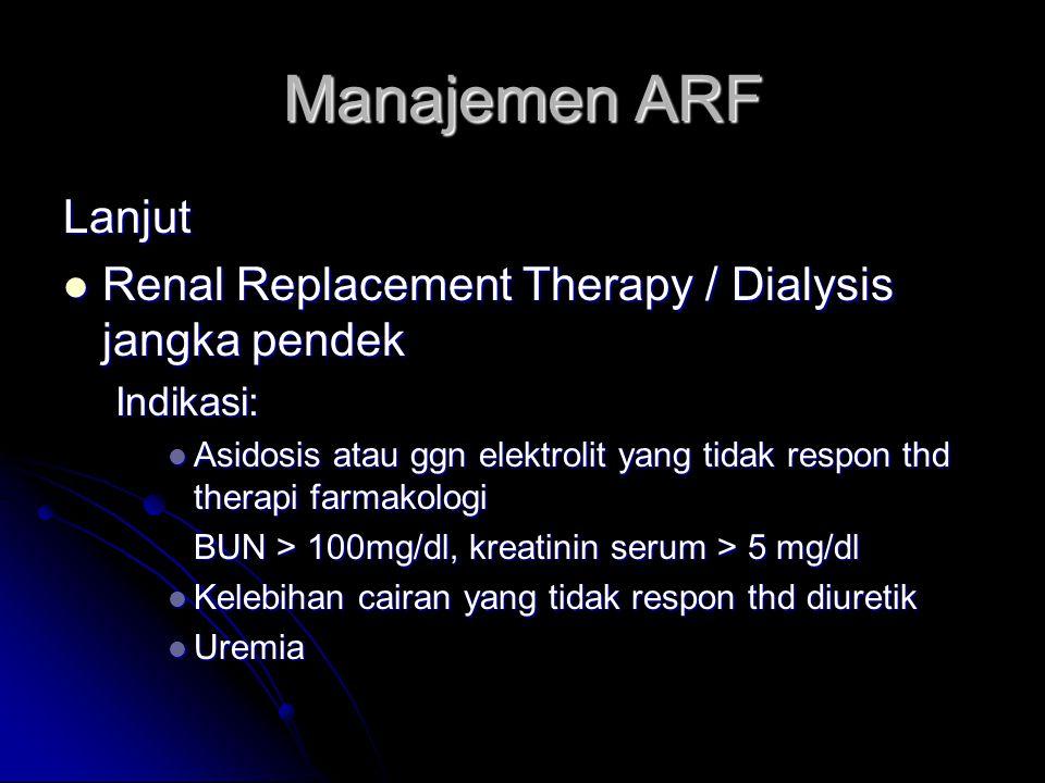 Manajemen ARF Lanjut. Renal Replacement Therapy / Dialysis jangka pendek. Indikasi: