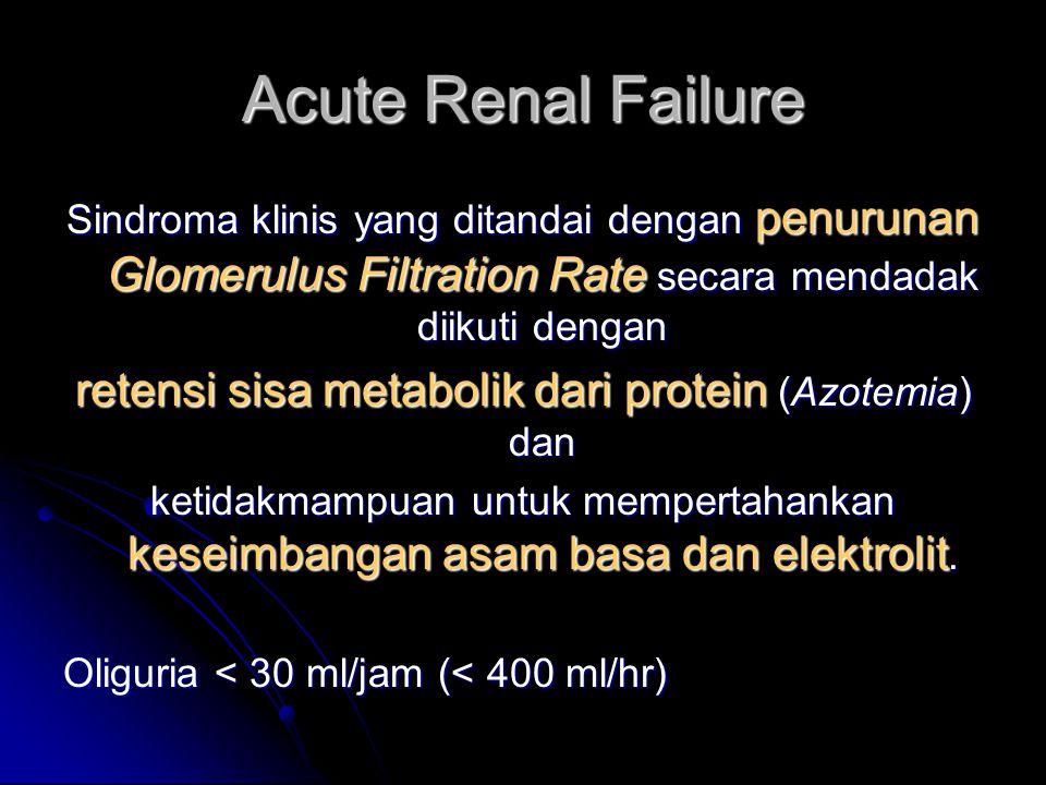 retensi sisa metabolik dari protein (Azotemia) dan