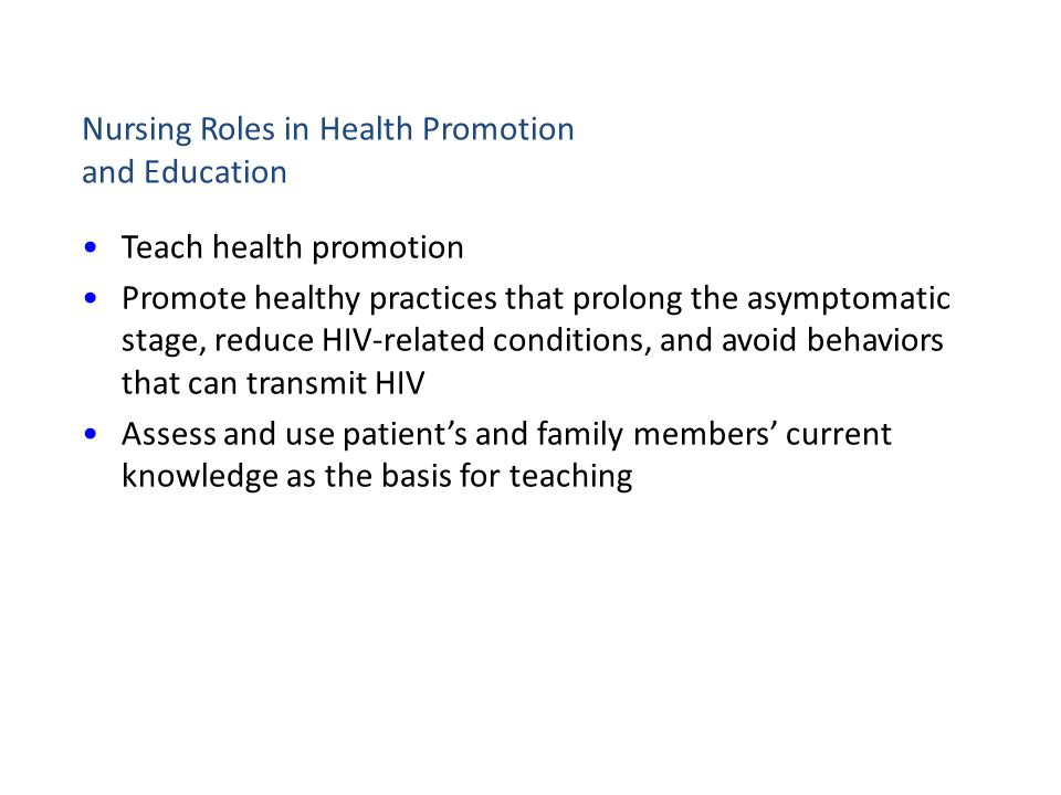 Nursing Roles in Health Promotion and Education