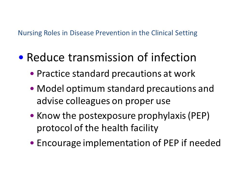 Nursing Roles in Disease Prevention in the Clinical Setting