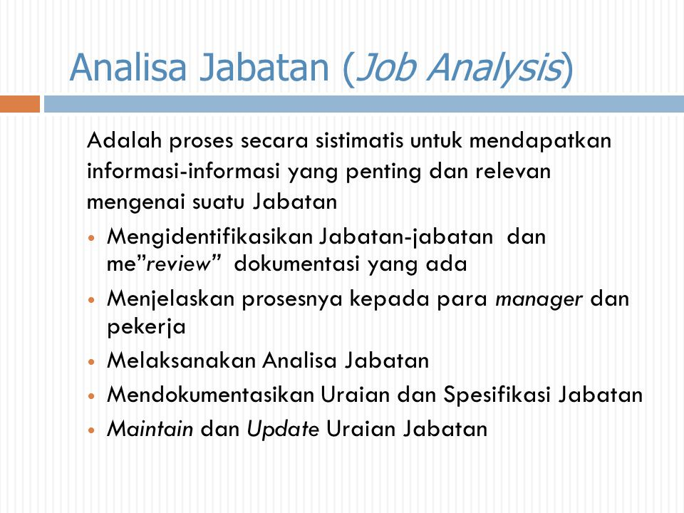 Analisa Jabatan (Job Analysis)