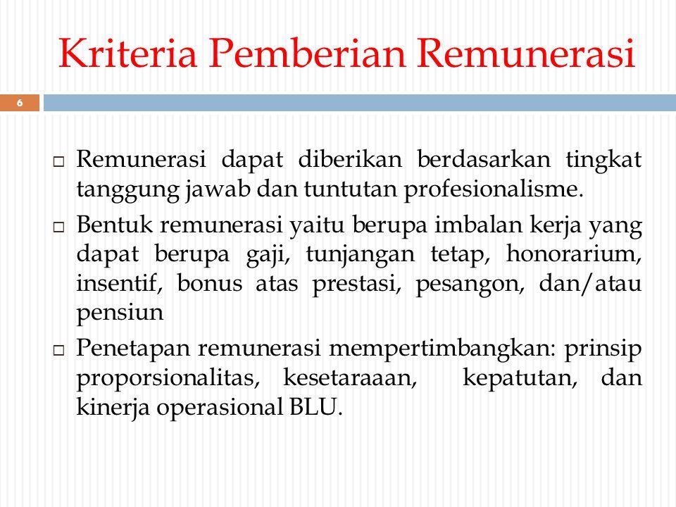 Kriteria Pemberian Remunerasi