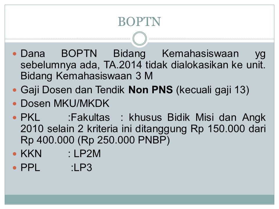 BOPTN Dana BOPTN Bidang Kemahasiswaan yg sebelumnya ada, TA.2014 tidak dialokasikan ke unit. Bidang Kemahasiswaan 3 M.