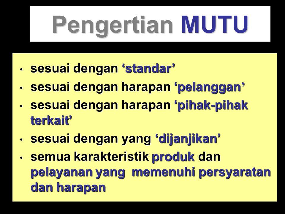 Pengertian MUTU sesuai dengan 'standar'