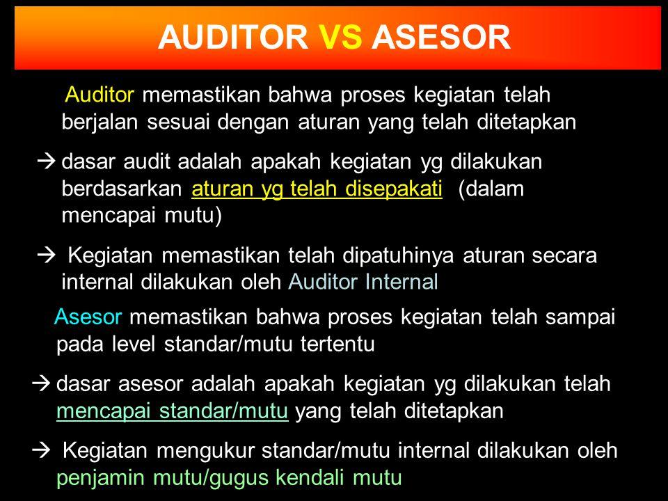 AUDITOR VS ASESOR Auditor memastikan bahwa proses kegiatan telah berjalan sesuai dengan aturan yang telah ditetapkan.