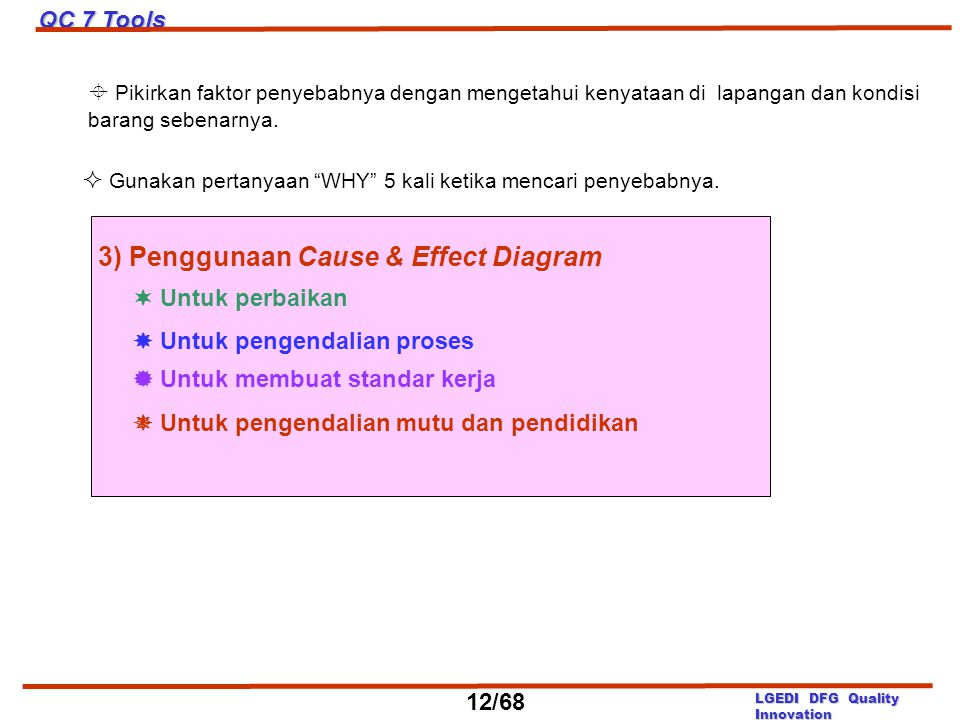 3) Penggunaan Cause & Effect Diagram