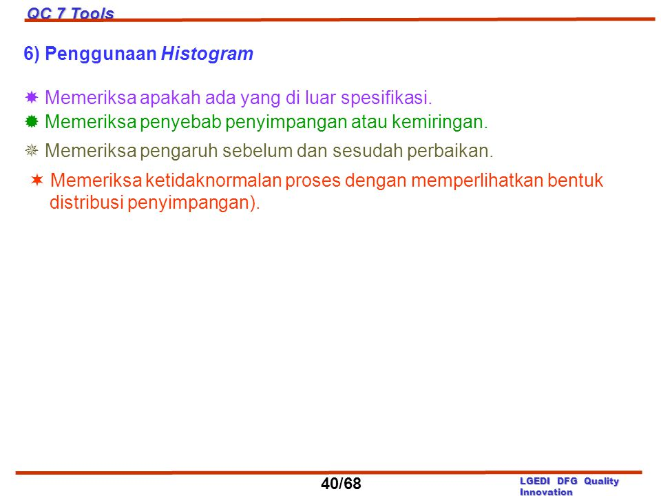6) Penggunaan Histogram