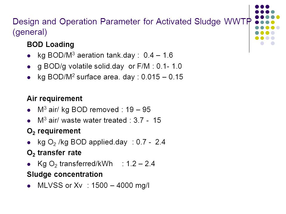 Design and Operation Parameter for Activated Sludge WWTP (general)
