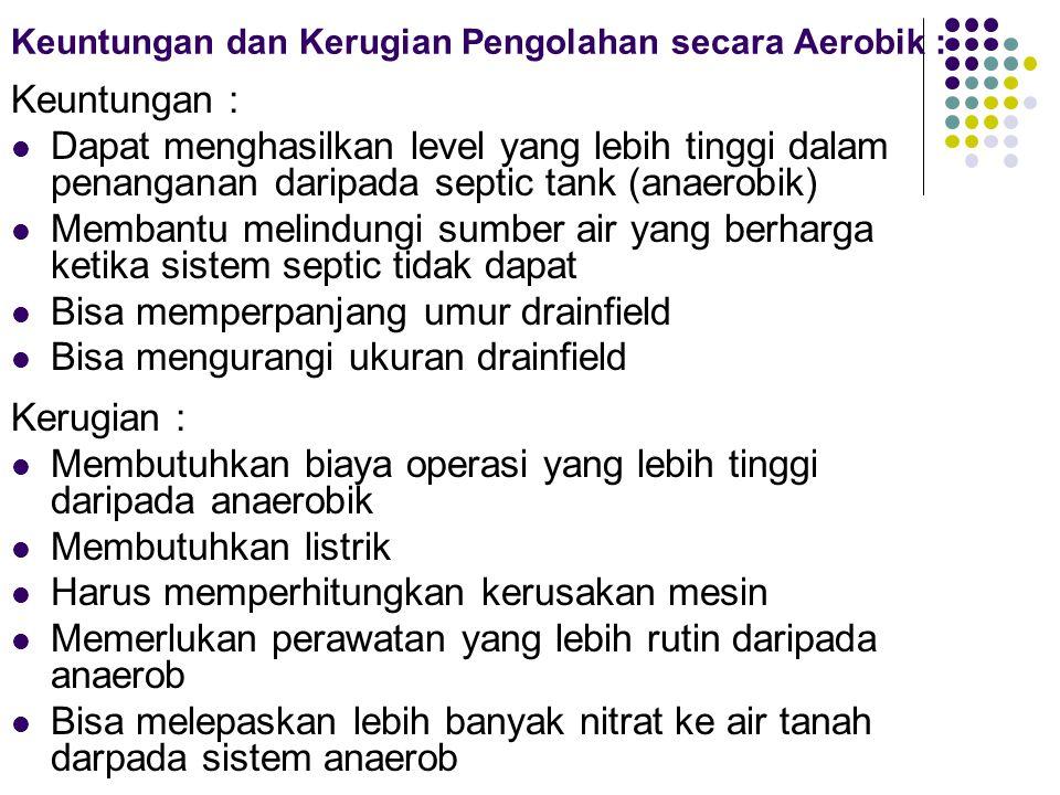 Keuntungan dan Kerugian Pengolahan secara Aerobik :