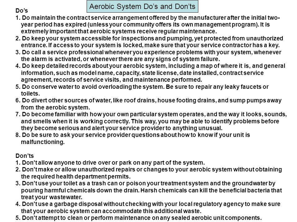 Aerobic System Do's and Don'ts