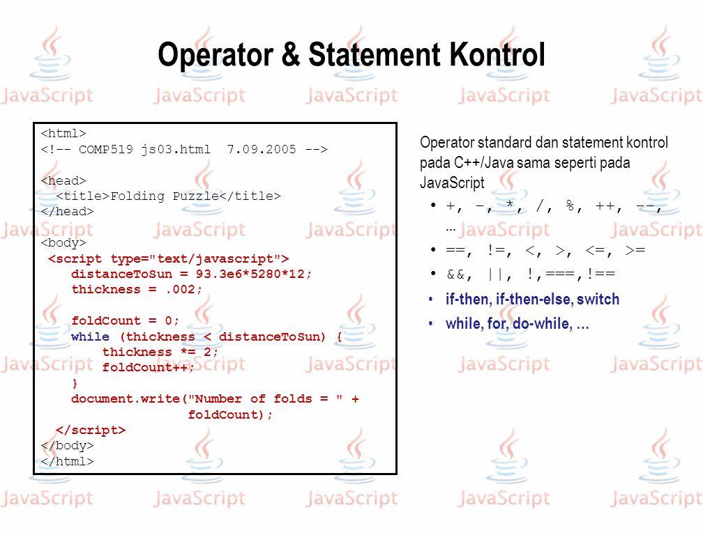 Operator & Statement Kontrol