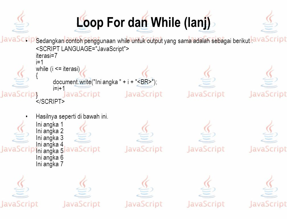 Loop For dan While (lanj)
