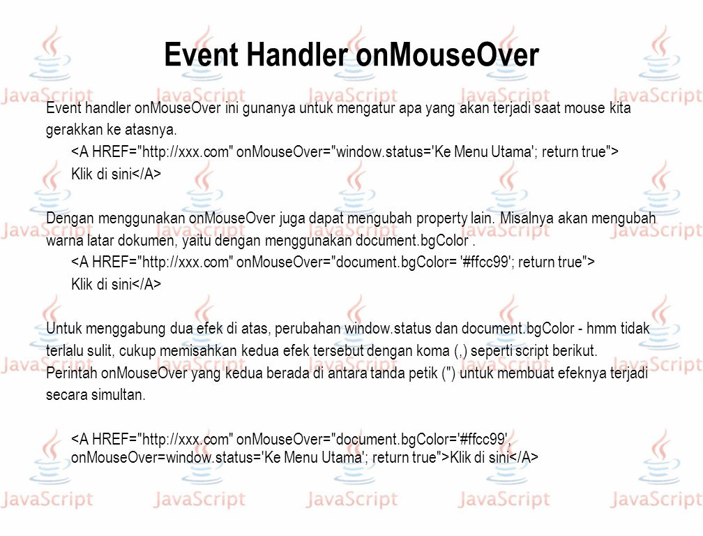 Event Handler onMouseOver