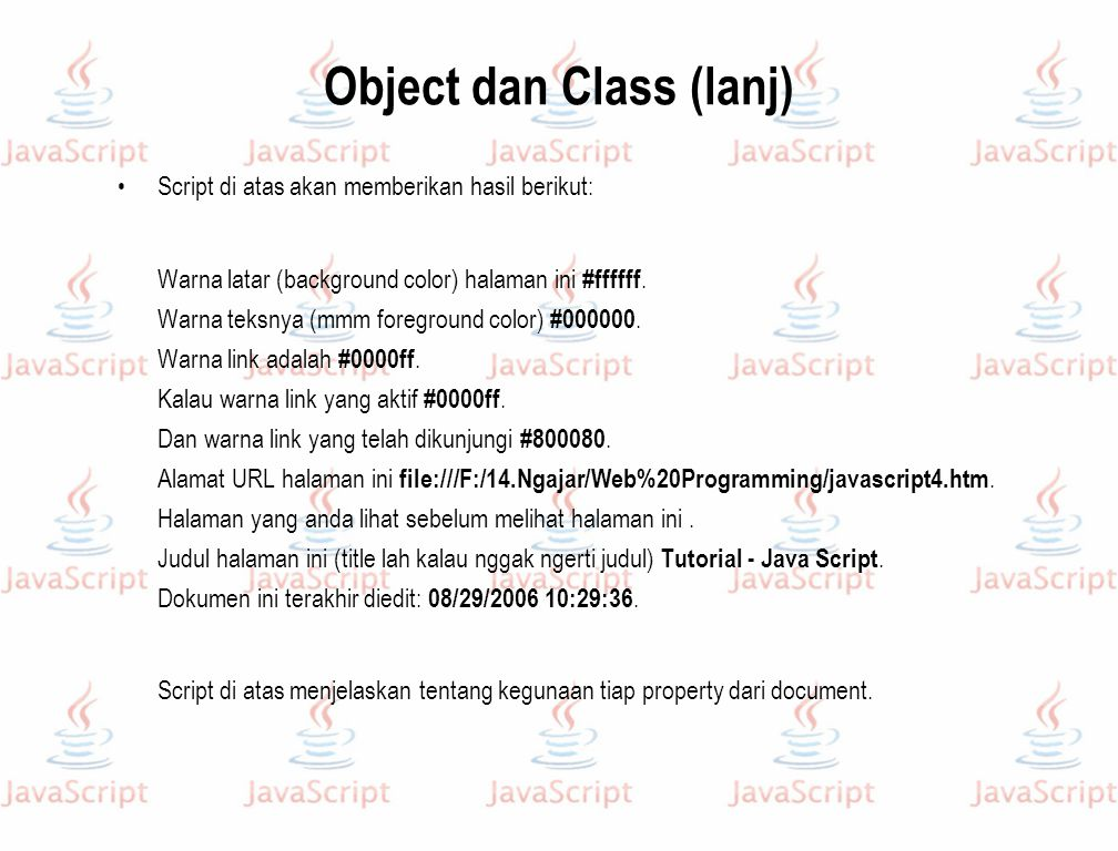 Object dan Class (lanj)