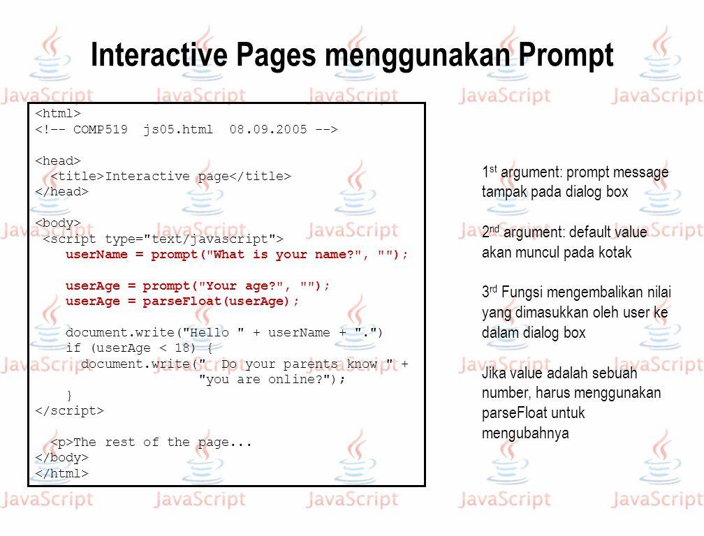Interactive Pages menggunakan Prompt