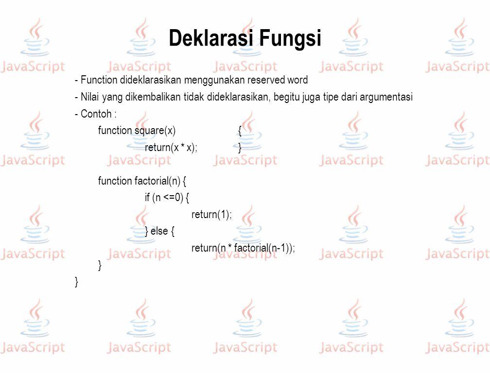 Deklarasi Fungsi - Function dideklarasikan menggunakan reserved word