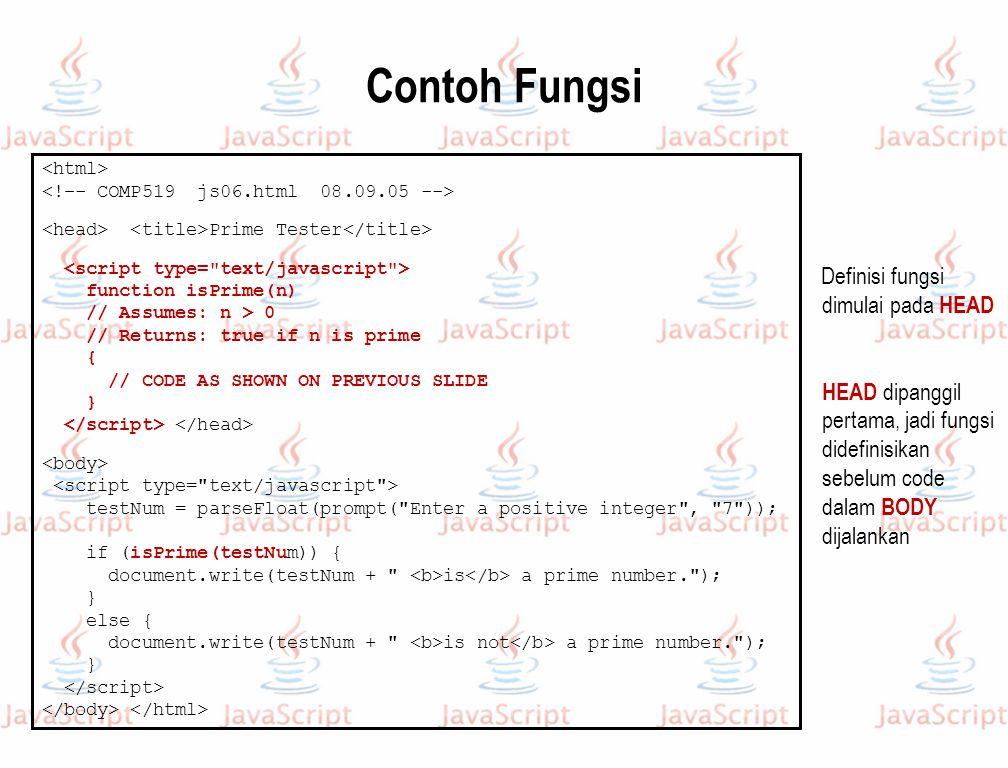 Contoh Fungsi Definisi fungsi dimulai pada HEAD