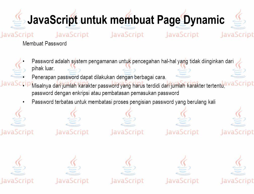 JavaScript untuk membuat Page Dynamic
