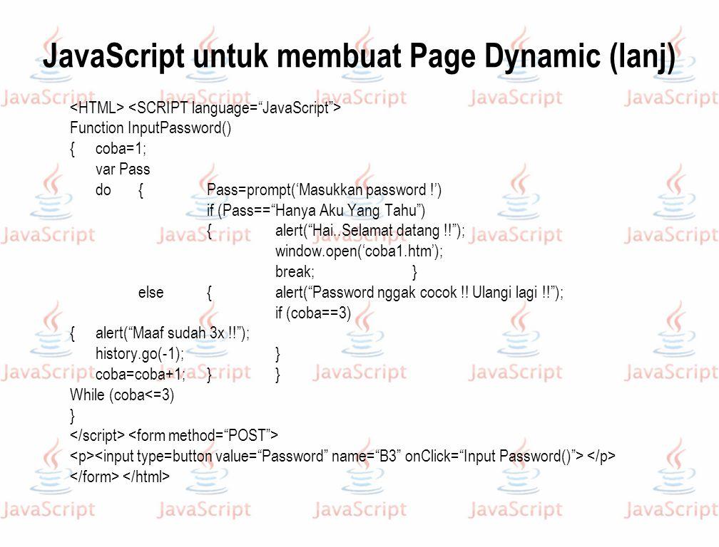 JavaScript untuk membuat Page Dynamic (lanj)
