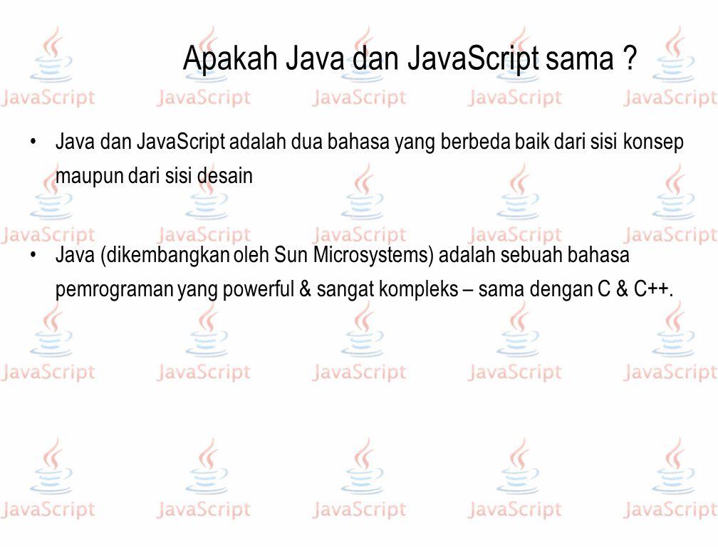 Apakah Java dan JavaScript sama