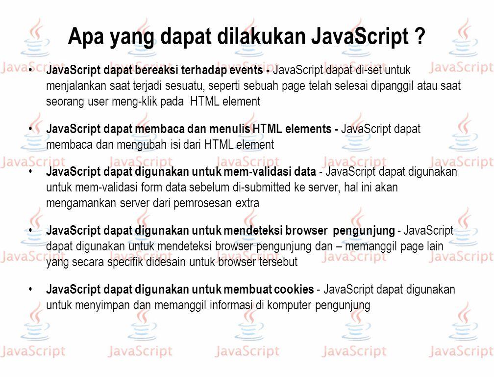 Apa yang dapat dilakukan JavaScript