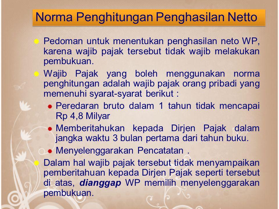 Norma Penghitungan Penghasilan Netto