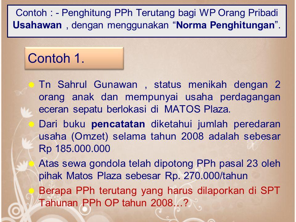Contoh : - Penghitung PPh Terutang bagi WP Orang Pribadi Usahawan , dengan menggunakan Norma Penghitungan .