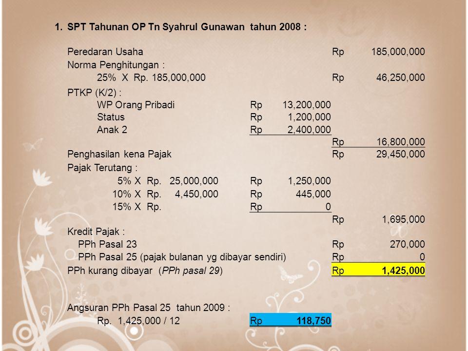 1. SPT Tahunan OP Tn Syahrul Gunawan tahun 2008 : Peredaran Usaha. Rp. 185,000,000. Norma Penghitungan :