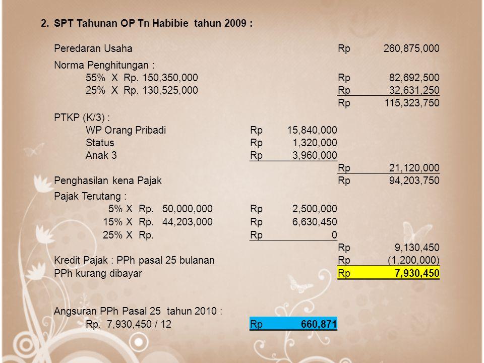 2. SPT Tahunan OP Tn Habibie tahun 2009 : Peredaran Usaha. Rp. 260,875,000. Norma Penghitungan :