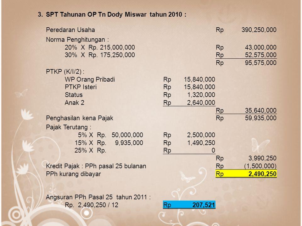3. SPT Tahunan OP Tn Dody Miswar tahun 2010 : Peredaran Usaha. Rp. 390,250,000. Norma Penghitungan :