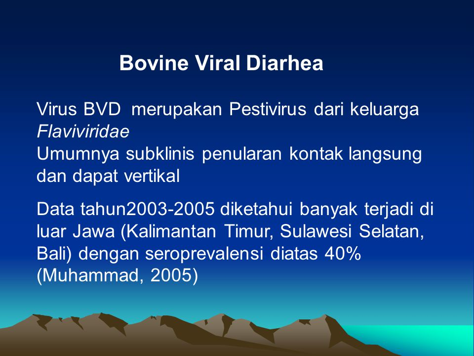 Bovine Viral Diarhea Virus BVD merupakan Pestivirus dari keluarga Flaviviridae. Umumnya subklinis penularan kontak langsung dan dapat vertikal.