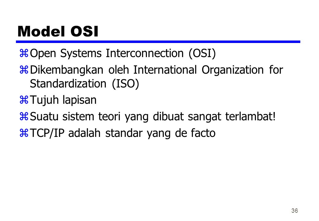 Model OSI Open Systems Interconnection (OSI)