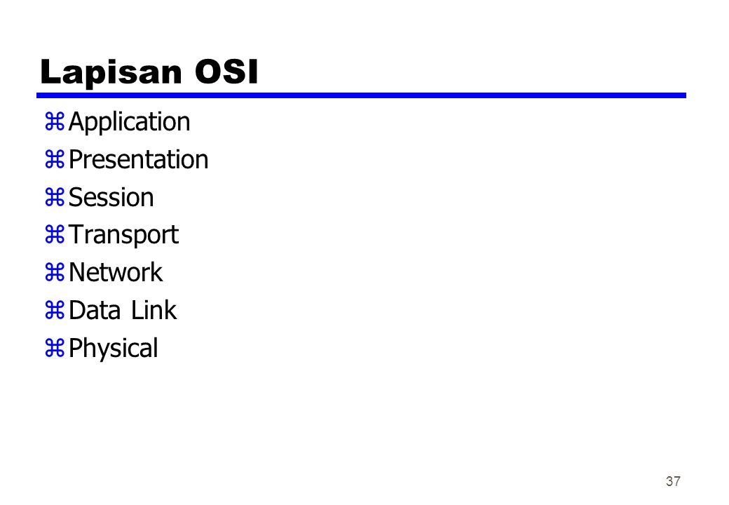 Lapisan OSI Application Presentation Session Transport Network