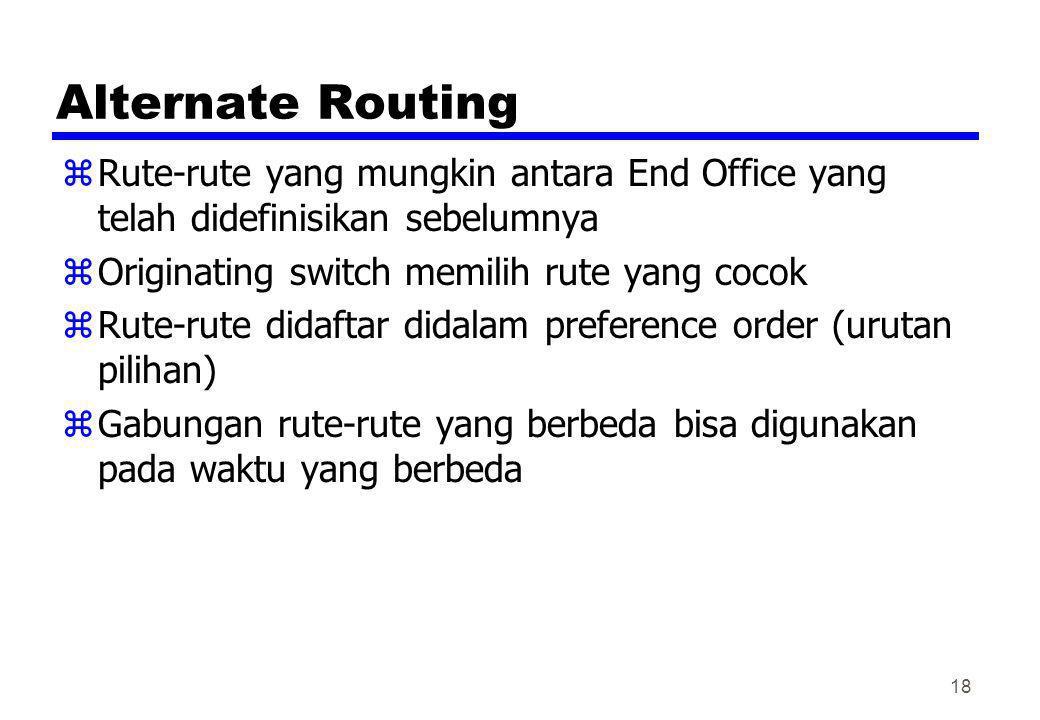 Alternate Routing Rute-rute yang mungkin antara End Office yang telah didefinisikan sebelumnya. Originating switch memilih rute yang cocok.