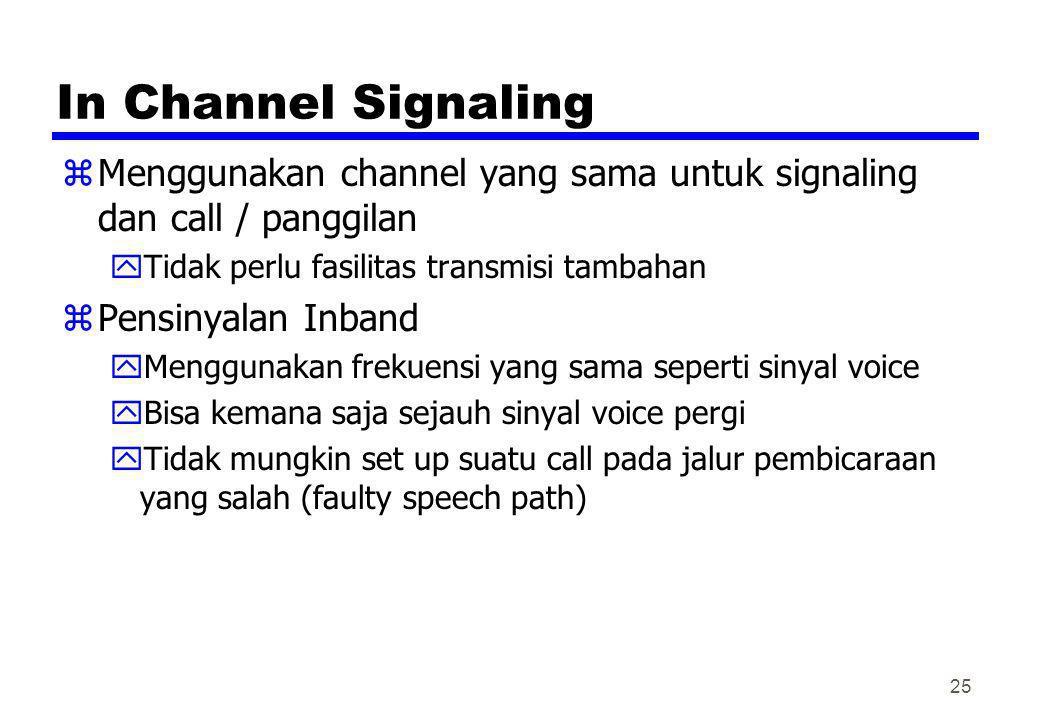 In Channel Signaling Menggunakan channel yang sama untuk signaling dan call / panggilan. Tidak perlu fasilitas transmisi tambahan.