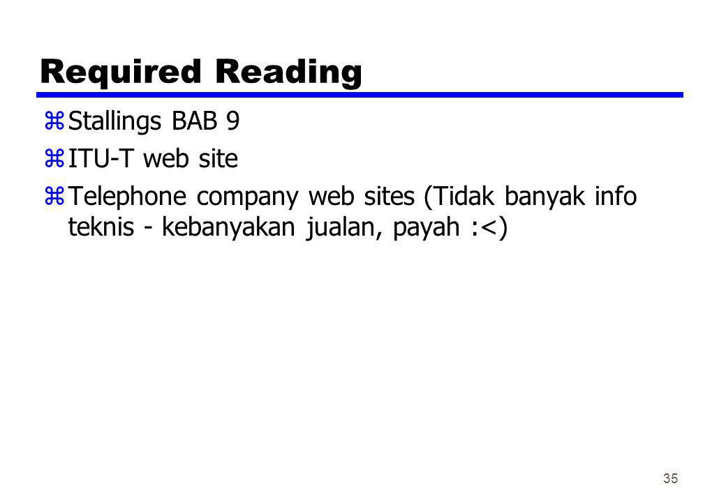 Required Reading Stallings BAB 9 ITU-T web site