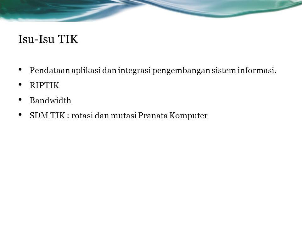 Isu-Isu TIK Pendataan aplikasi dan integrasi pengembangan sistem informasi.
