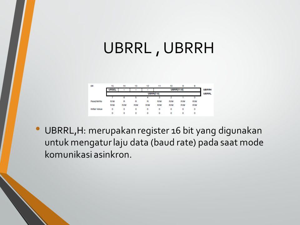 UBRRL , UBRRH UBRRL,H: merupakan register 16 bit yang digunakan untuk mengatur laju data (baud rate) pada saat mode komunikasi asinkron.