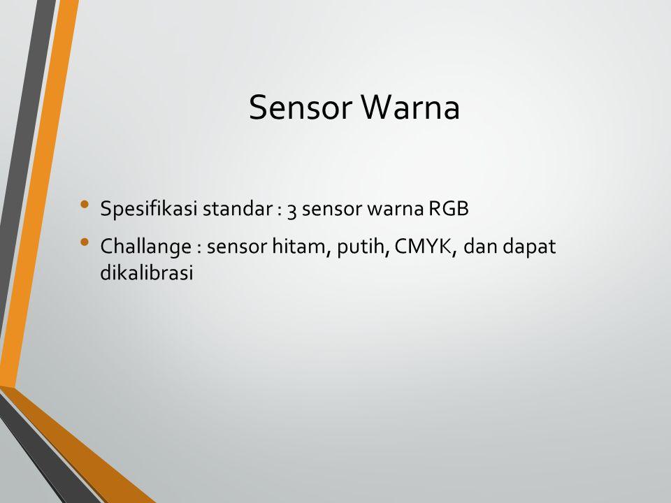 Sensor Warna Spesifikasi standar : 3 sensor warna RGB