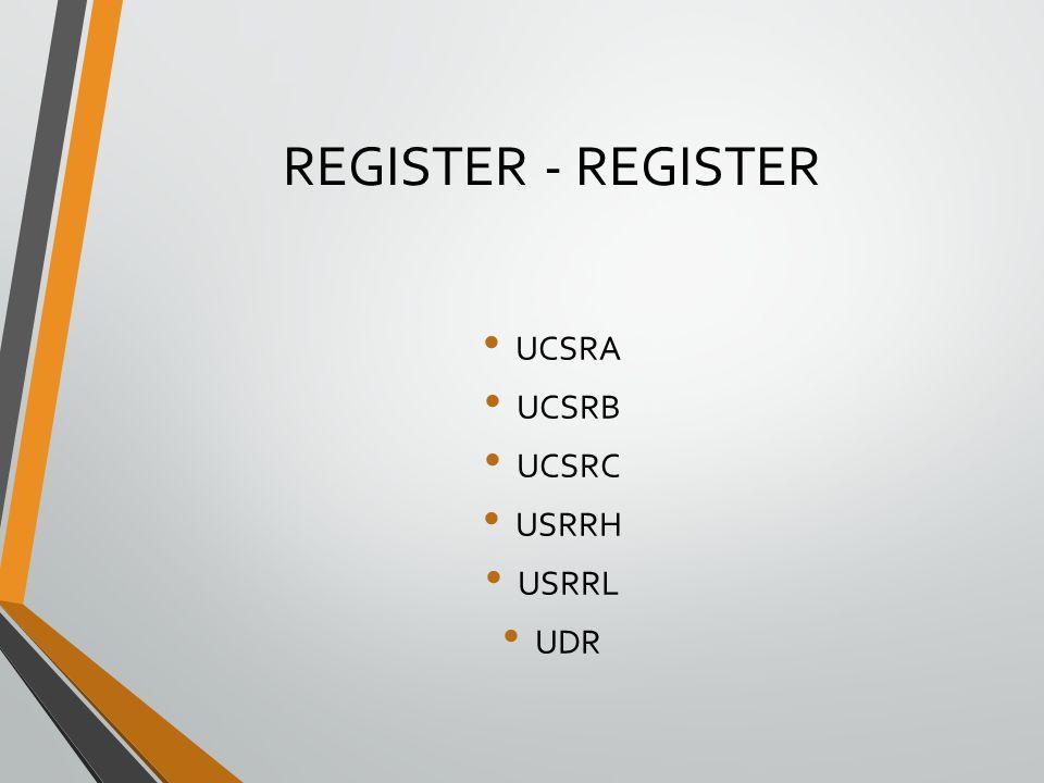 REGISTER - REGISTER UCSRA UCSRB UCSRC USRRH USRRL UDR