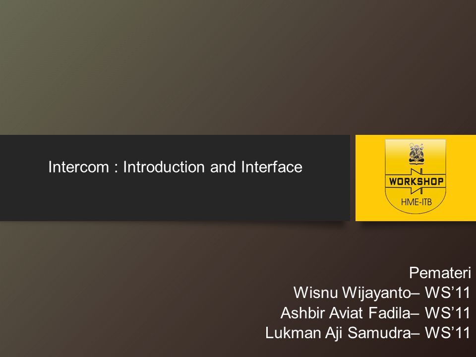 Intercom : Introduction and Interface
