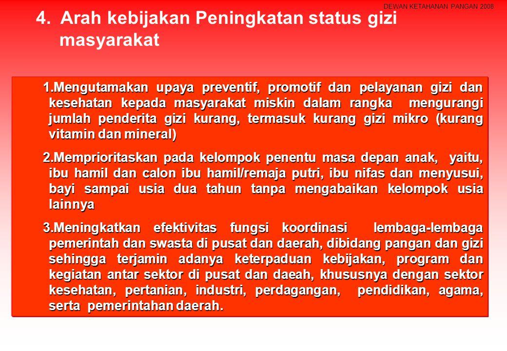 4. Arah kebijakan Peningkatan status gizi masyarakat