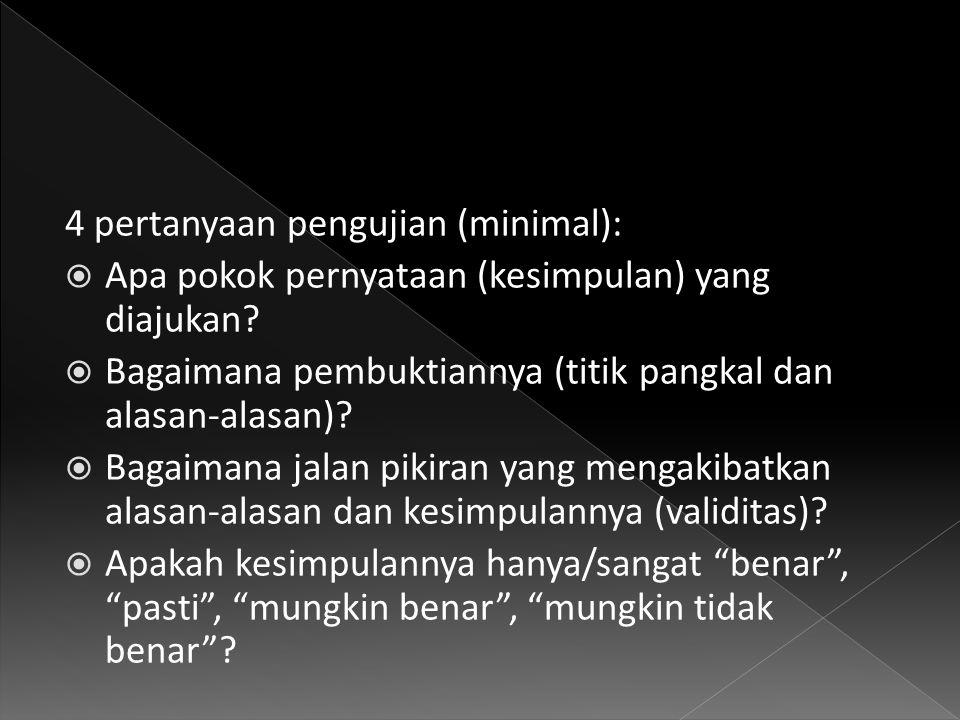 4 pertanyaan pengujian (minimal):